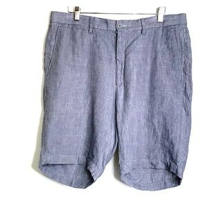 SAKS FIFTH AVENUE • Classic 100% Linen Grey Shorts